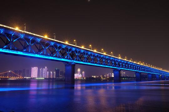 Night time at double deck bridge at Wuhan Yangtze River Bridge.