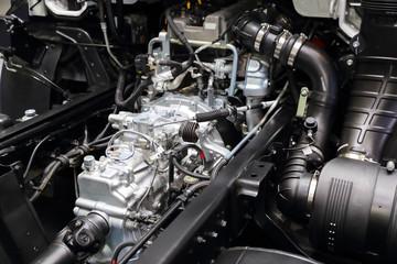 new diesel truck engine close up