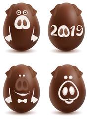 Chocolate pig symbol 2019 year. Set of christmas ball egg decoration