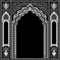 Black and white arch in oriental style