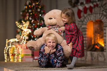 Children celebrates Christmas at home
