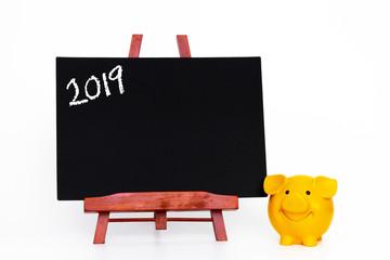 Jahr 2019 Glücksbringer Tafel mit Sparschwein
