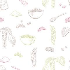 Black pepper plant color seamless pattern background sketch illustration vector