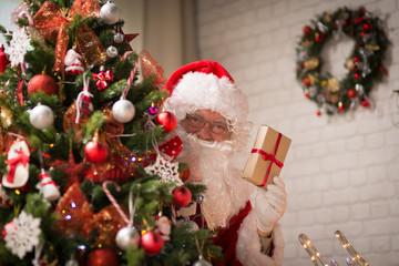 Santa Claus in a room