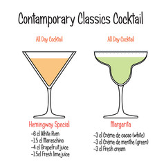 Hemingway cocktail and margarita cocktail recipe