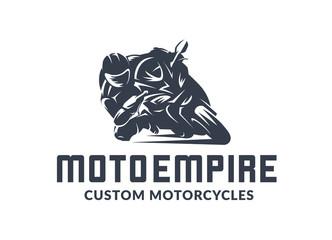 Racing motorcycle logo on black background. Superbike vector monochrome emblem.