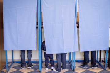 Persons voting in booths at a polling station