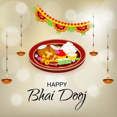 Vector illustration of a Background for indian festival of Happy Bhai Dooj Celebration.