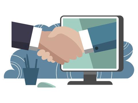 Handshake through computer monitor. Business make deal metaphor in minimalistic flat style. Cartoon vector illustration