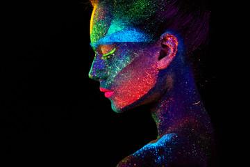 Fototapeta Close up UV abstract portrait  obraz