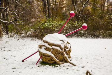 ball of yarn in snow