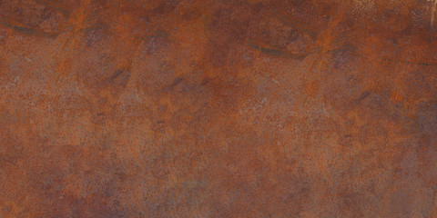 Panorama of rusty metal wall, old sheet of iron covered with rust and corrosion paint. Oxidized iron panel. Texture or background. Wall mural