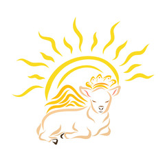 Lying winged lamb or calf in a crown and shining sun