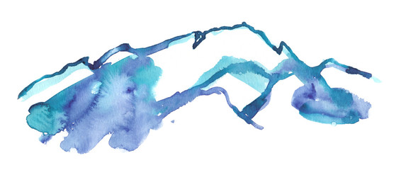 Blue and purple icy mountain peaks painted in watercolor on clean white background