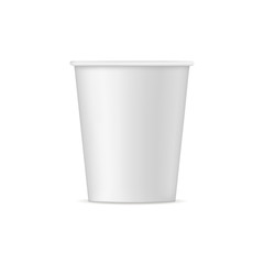 Paper cup mockup - front view. Vector illustration
