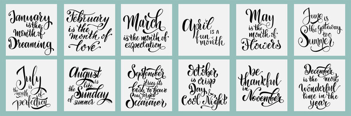 Lettering phrases about all month. Hand drawn style vector illustration