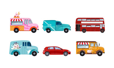 Transportation vehicles set, urban public and freight vehicles vector Illustration on a white background