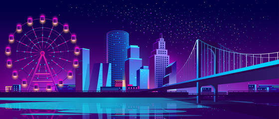 Canvas Prints Violet Vector urban concept background with night city illuminated with neon glowing lights. Futuristic cityscape with modern buildings, high skyscrapers, Ferris wheel in amusement park on bank of river