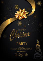 Christmas Party Invitation on Black Background with Golden Glittering Inscription, Golden Bow and Ribbon and Snowflakes - Vector Illustration