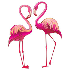 Two colorful flamingos looking at each other and building a heart-shape