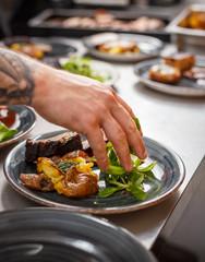 Chef plating dish