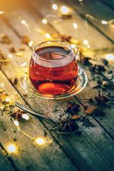 Hot tea in glass tea cup