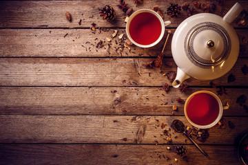 Tea cups with teapot