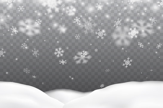 Snow flakes falling with snowdrifts isolated on transparent background. Vector christmas snowfall overlay texture, white snowflakes flying in winter air.