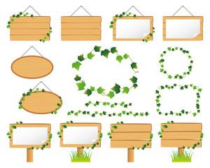 蔦と木製看板のイラストセット
