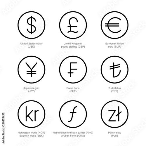 Currency Exchange Icons Money Line Signs Us Dollar Uk Pound Sterling Euro Anese Yen Swiss Franc Turkish Lira Norwegian Krone Swedish Krona