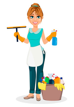 Happy housewife. Cheerful mother