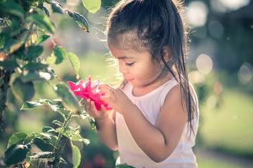 Young Girl Picking a Pink Rose