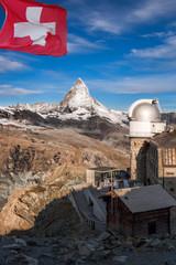 Matterhorn with observatory, Zermatt area, Switzerland