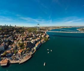 Aerial view of Fatih Sultan Mehmet Bridge and European side of Istanbul