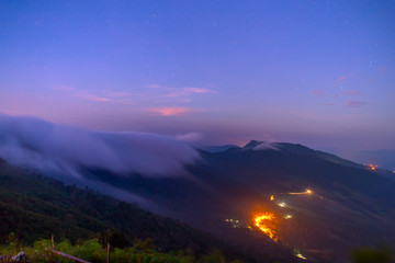 Landscape of sunrise on Mountain View of Phu Chi Fa , Thailand