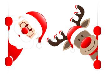 Santa & Rudolph 7 Hats Red Star Banner