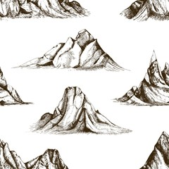 Monochrome seamless pattern with mountain peaks hand drawn with contour lines on white background