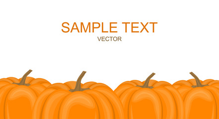 Vector illustration. Horizontal banner with autumn pumpkins for Halloween.
