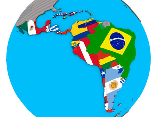 Latin America with embedded national flags on blue political 3D globe.