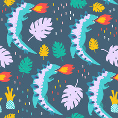 Hand drawn fire-breathing dinosaurus and tropical leaves. Colored vector seamless pattern