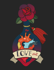 Love me. Bottle of love potion. Hand drawn colored vector illustration