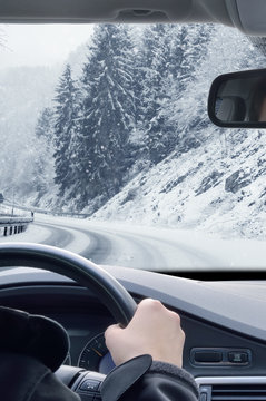 Winter Driving - Snow on a mountain road