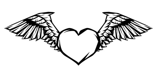 Heart with wings for tattoo design or emblem.