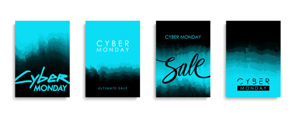 Cyber Monday Sale promotional flyers or covers set for cyber monday discount shopping, business, commerce and advertising. Vector illustration.
