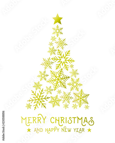 Gold Christmas Tree Made Of Snowflakes Abstract Merry Christmas And