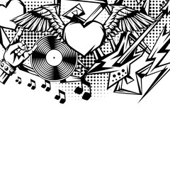 Rock and roll music print.