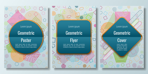 Posters, covers, leaflets with abstract geometric figures. A set of modern posters with labels of different shapes