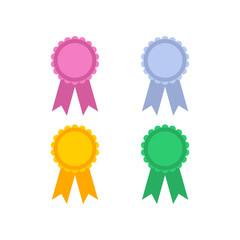 Award badges flat icon on isolated white transparent background.