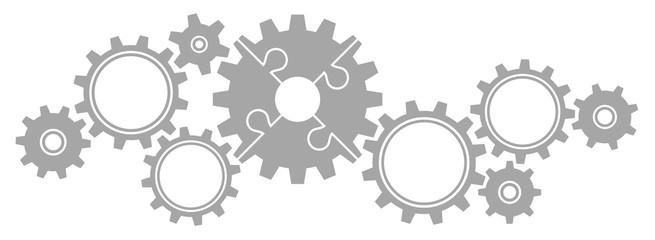 Gears Border Graphics Puzzle Grey