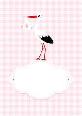 Baby Card Girl Stork Cloud Rose Check Pattern